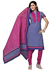 DARPAN TEXTILES Ethnicwear Women's DressMaterial(Blue_Free Size)