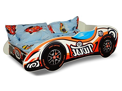 Lit voiture F1 orange+sommier+matelas 140x70cm