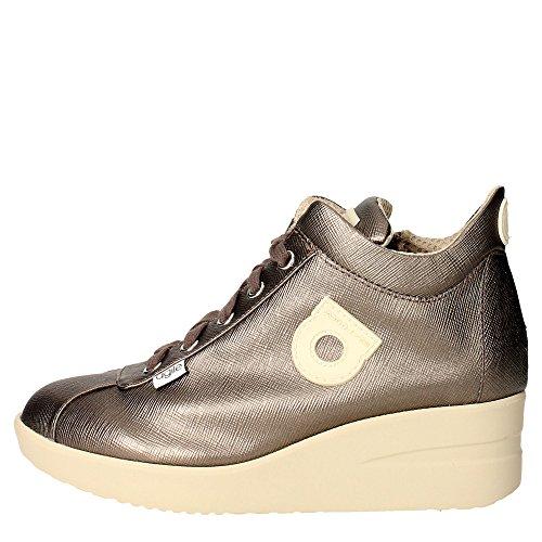 AGILE BY RUCOLINE - Sneakers in pelle laminata con zip laterale e fondo gomma alto . Fondo 50 mm 240151 GRAFITE n.40