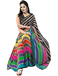 Varibha Women's Branded Indian Style Silk Black Printed Saree ( Best Gift For Mom, Wife, Sister )
