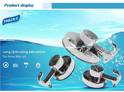 3 Unit Chrome Strong Powerful Vacuum Suction Cup Hook for Bathroom Kitchen Clothing Door Hook Wall Towel (Crowbar Prop)