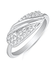 Mahi Rhodium Plated Blooming Entice Finger Ring With CZ For Women FR1100499R