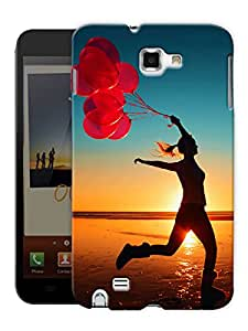 """Humor Gang Free Woman With Balloons On A Beach Printed Designer Mobile Back Cover For """"Samsung Galaxy Note 1"""" (3D, Matte Finish, Premium Quality, Protective Snap On Slim Hard Phone Case, Multi Color)"""