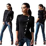 Longwu Women Long Sleeve Single Breasted Work Blazer Asymmetric Hem Jacket Coat