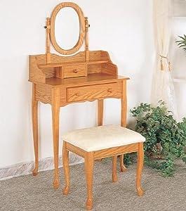 Amazon Com Queen Anne Style Vanity Set In Oak Finish