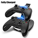 Century Accessory USB LED Fast Charging Stand Dock Station for Dual Xbox One Game Controller Black