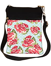 Snoogg Beautiful Seamless Rose Pattern With Blue Polka Dot Background Cross Body Tote Bag / Shoulder Sling Carry...