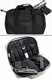 Ultimate Arms Gear Stealth Black Walther 9mm .22 .357 Sig 38 Special .40 S&W .45 ACP GAP Discreet Dual Tactical Hand Gun Handgun Revolver Case Bag Rag Holds 2 Pistols with 6 Interior Double Stack Single Mag Magazine Pockets and Carry Handle