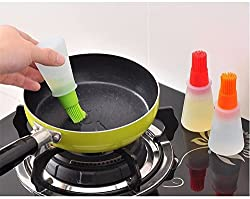 CONNECTWIDE® BBQ baking Multipurpose oil and Pastry brush - 1 pc Grill Oil Bottle Brushes Silicone Liquid Oil Pen Cake Butter Bread Pastry Brush Baking Tool BBQ Utensil Safe Basting Brush, Silicon Oil Bottle & Brush, Bottle with Basting Brush, brushing Kit for oil easy to use Silicon material (Color May Vary)