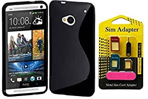 Free Metal Sim Adaptor With Wellmart Anti-Skid Soft TPU Back Case Cover for HTC OneM7