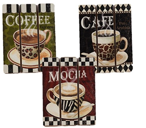 Coffee House Cup Mug Latte Java Mocha Wooden Wall Art Home Decor, Set of 3 (Coffee Cups Kitchen Decor compare prices)