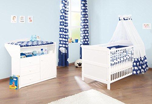 Pinolino-090002-Sparset-Erik-2-teilig-Kinderbett-140-x-70-cm-und-Wickelkommode-wei