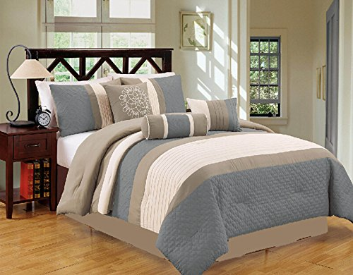 Modern 7 Piece Bedding Spa Blue / Grey / White Pin Tuck / Embroidered QUEEN Comforter Set With