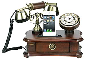 Pyle PRT35I Retro Home Telephone with Charger for iPhone/iPod - Retail Packaging - Wood (Discontinued by Manufacturer)