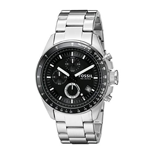 Fossil Mens Watch Decker CH2600 with Black Multi Dial and Stainless Steel Bracelet