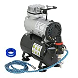 Zeny Airbrush Air Tank Compressor Regulator Filter Hose 3L Tank w/ 1/5 HP Power 6ft Hose