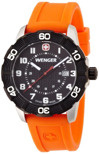 wenger - 010851106 - Montre Homme - Quartz Analogique - Bracelet Silicone Orange