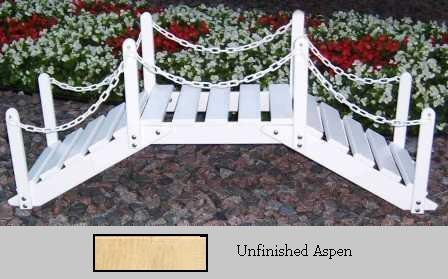 Prairie Leisure Design 47B Unfinished Aspen Decorative Garden Bridge With Posts And Chain - Unfinished