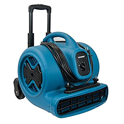 XPOWER P-630HC 1/2 HP Air Mover Carpet Dryer Fan with Telescopic Handle, Wheels, Clamp