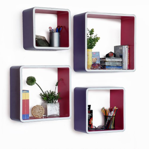 Trista - [Grapeplantation] Rectangle Leather Wall Shelf / Bookshelf / Floating Shelf (Set Of 4)