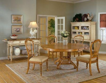 Wilshire Round/Oval Antique Pine Dining Table - Hillsdale 4507DTBRND
