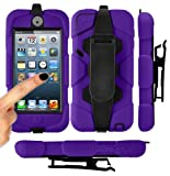 MGG - Purple Heavy Duty Builders Armour Triple Defender Tough Survivor Military Shockproof Case Cover For Apple iPod Touch 5 5th Gen Generation With Belt Clip & Built in Screen Guard