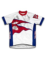 Nepal Flag Short Sleeve Cycling Jersey for Women