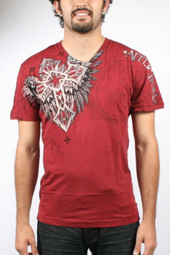 Affliction Kerio V-Neck T-Shirt - Pale Red (XX-Large)