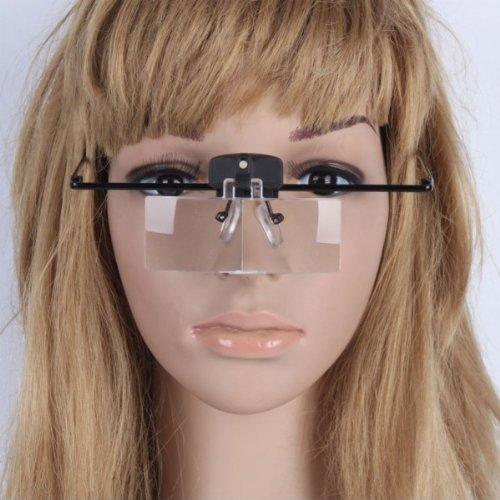 Usongs Magnifier 1.5X 2.5X 3.5X Mini Glasses Style Hand Free Loupe Magnifying Glass With Led Light Illumination