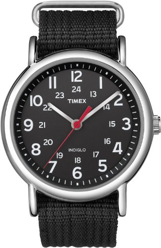 Timex Men's T2N647KW Weekender Black Slip Through Strap Watch