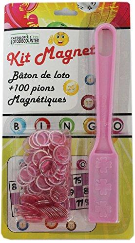 Bâton magnétique + 100 pions de loto bingo rose