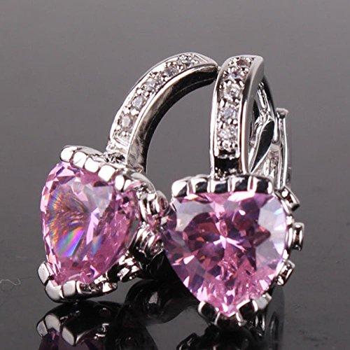 Outstanding Gift 18K White Gold Plated Heart Earring Pink Crystal Zirconia Woman Huggie Hoop Earring E022C