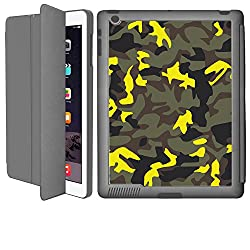iPad 2/ iPad 3/ iPad 4 Smart Case Flip Cover (Grey)- Neon Yellow Camouflage-Limited Edition Designed by Nik-L