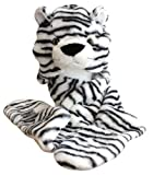 Plush Faux Fur Animal Critter Hat Cap - Soft Warm Winter Headwear - Short with Ear Poms and Flaps & Long with Scarf and Mittens available (White Tiger - 3pc Scarf & Mittens)
