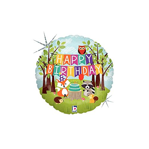 Betallic 36178P Woodland Birthday Party Holographic Balloon Pack, 18""
