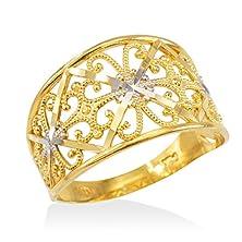 buy Fine 10K Two-Tone Gold Milgrain Edge Four Leaf Clover Filigree Cocktail Ring (Size 7)
