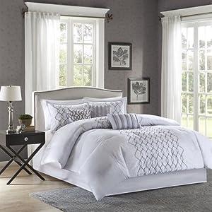 Madison Park Iris 7 Piece Comforter Set - Silver - Queen