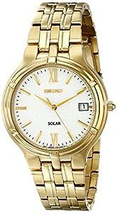 Seiko Men's SNE030 Solar Gold Stainless Steel White Dial Watch