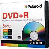 Polaroid PRDVDPR005J DVD+R 4.7GB 120-Minute 16x Recordable DVD Disc, 5-Pack Slim Case