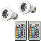 HDE 2x Multi-Setting Energy Efficient Remote Control 5 Watt Color Changing 16 LED E27 Lamp Light Bulb with RC