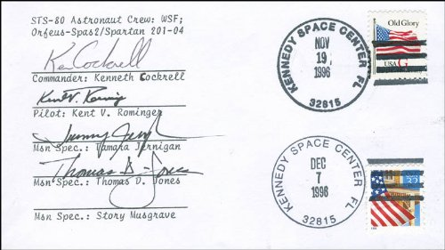 """Space Shuttle Columbia - Sts - 80 Crew - Commemorative Envelope Signed Co-Signed By: Tamara """"Tammy"""" Jernigan, Thomas D. Jones, Kent Rominger, Ken Cockrell"""