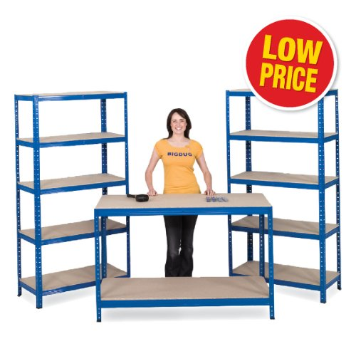 2 Shelving Bays 1780h x 900w x 450d mm + 1 Bench