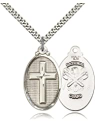 Large Detailed Men's .925 Sterling Silver Highest Quality Cross / National Guard Medal Pendant 1 1/4 x 5/8 Inches -4145Y- Comes with a Stainless Silver Heavy Curb Chain Neckace And a Black velvet Box discount price 2015