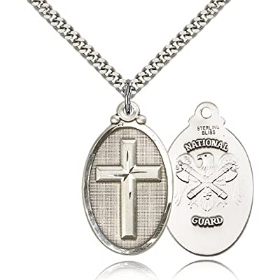 Large Detailed Men's .925 Sterling Silver Highest Quality Cross / National Guard Medal Pendant 1 1/4 x 5/8 Inches -4145Y- Comes with a Stainless Silver Heavy Curb Chain Neckace And a Black velvet Box Coupon 2015