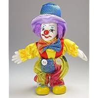 Clown Figurine - Rainbow Colored, Hand-Painted, Posable, Porcelain, 7