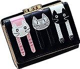 [ MT On&Do ] ネコ パスケース 財布 小銭入れ 二つ折り財布 折り畳み ガマグチ 猫好き マニア かわいい 収納たくさん コンパクト (ブラック)
