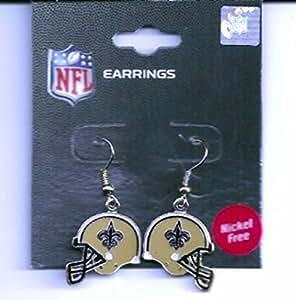 New Orleans Saints Helmet J Hook Earrings