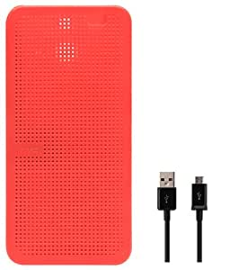 DMG Premium Dot View Flip Cover Case For HTC One E8 (Red) + Data Cable