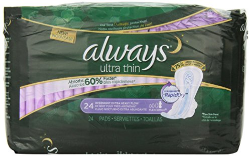 Always Alwaysultrathinpadsextraheavyovernightw/Flexi-Wingsunscented24Count, 24.000 Count