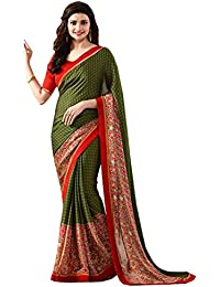 Pramukh Saris Women'S Georgette Saree With Blouse Piece (Ps11 Green Red_Green,Red)